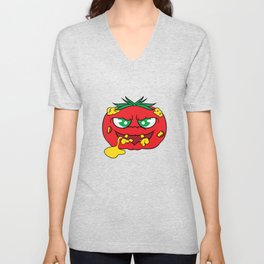 """Toxic tomato"" tee design. Creepy and freaky shirt perfect to mock your friends this holiday!  Unisex V-Neck"