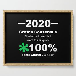 Humorous 2020 Review Rotten Tomatoes Score From World Population White Lettering Serving Tray