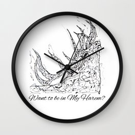 OLena Art Elk Design 'Want to be in My Harem?' Wall Clock