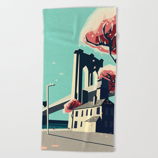 A pretty day at the brooklyn bridge Beach Towel