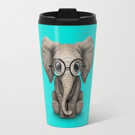 Cute Baby Elephant Calf with Reading Glasses on Blue Travel Mug