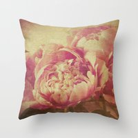 peonies Throw Pillows featuring Peonies by V. Sanderson / Chickens in the Trees