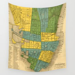 Vintage Map of Charleston SC (1883) Wall Tapestry