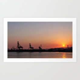 Sunset at an industrial harbour Art Print