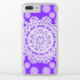 Purple and Pearl White Mandala Textile Pattern Clear iPhone Case