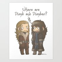 dumb and dumber Art Prints featuring Dumb and Dumber by AlyTheKitten