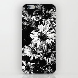 Ink drawing of camomiles, black and white iPhone Skin