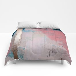Morning Light: a minimal abstract mixed-media piece in pink gold and blue by Alyssa Hamilton Art Comforters