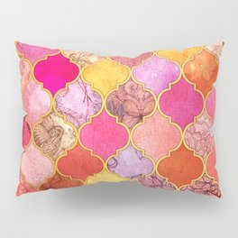 Hot Pink, Gold, Tangerine & Taupe Decorative Moroccan Tile Pattern Pillow Sham