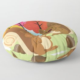 Let The Acorns Fall Floor Pillow