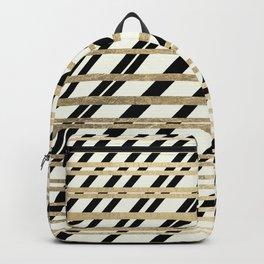 Geometric ivory black gold modern stripes pattern Backpack