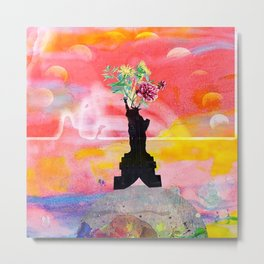 Lady Liberty Floral Collage Metal Print