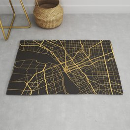 DETROIT MICHIGAN GOLD ON BLACK CITY MAP Rug