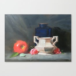 Blue Bottle with Apple Canvas Print