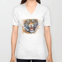tiger V-neck T-shirts featuring Tiger by Olechka