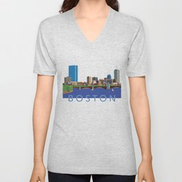 Back Bay Boston Skyline Unisex V-Neck