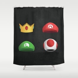 Super Mario Character Hats Shower Curtain