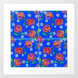 Orange rose tile Art Print