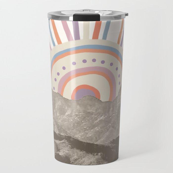 Bohemian Tribal Sun UP / Abstract Vintage Mountain Happy Summer Vibes Retro Colorful Pastel Artwork Travel Mug