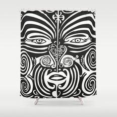 Maori Moko   Tribal Tattoo   New Zealand   Black and White Shower Curtain