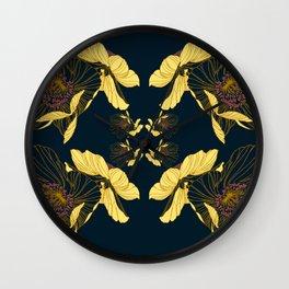 Art Nouveau Poppy Abstract Wall Clock