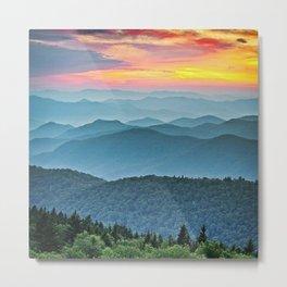 Mountain Range Sunset Metal Print