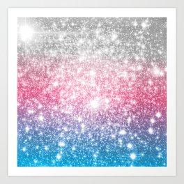 Galaxy Sparkle Stars Cotton Candy Art Print