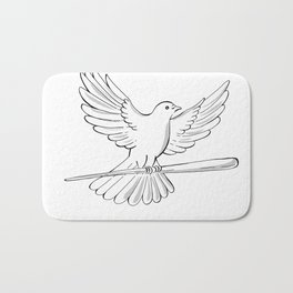 Pigeon or Dove Flying With Cane Drawing Bath Mat