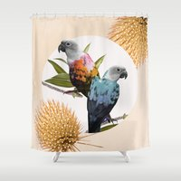 sia Shower Curtains featuring Sun Conure Parrots by Kangarui by Rui Stalph