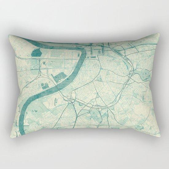 Antwerp Map Blue Vintage Rectangular Pillow