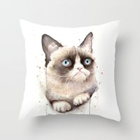 grumpy Throw Pillows featuring Grumpy Watercolor Cat by Olechka