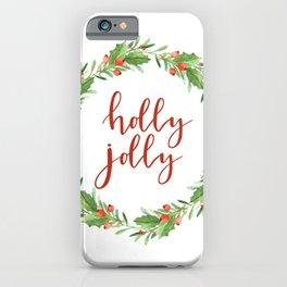 Christmas wreath-holly jolly iPhone Case