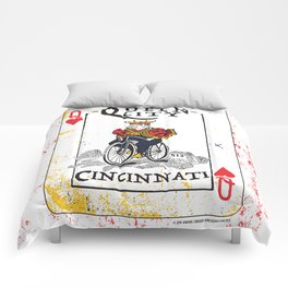 Queen of Cincinnati Bike Print Comforters