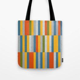Orange, Green, Blue, Gray / Grey Stripes, Nautical Maritime Tote Bag