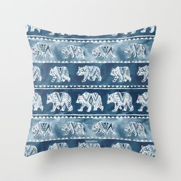 BEAR SPIRIT Indigo Watercolor California Bears Pattern Throw Pillow