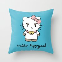 puppycat Throw Pillows featuring Hello Puppycat by Nate Galbraith