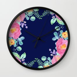 pink peonies with navy background Wall Clock