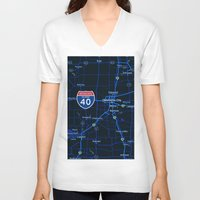 oklahoma V-neck T-shirts featuring oklahoma map by Larsson Stevensem