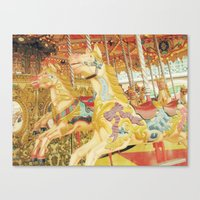 carousel Canvas Prints featuring Carousel Horse by WhimsyRomance&Fun