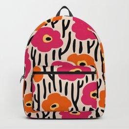 Mid Century Modern Wild Flowers Pattern Pink and Orange Backpack