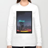 miami Long Sleeve T-shirts featuring Miami by Nioko