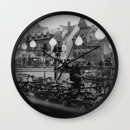 Copenhagen street scene,view from cafe, black and white Wall Clock