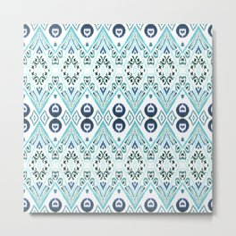 Ikat Java Blue Metal Print