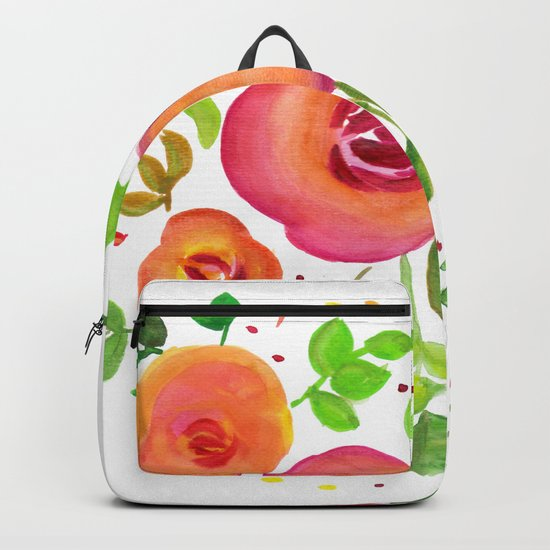 Bright Flowers Floral Bouquet - Watercolor Painting Backpack