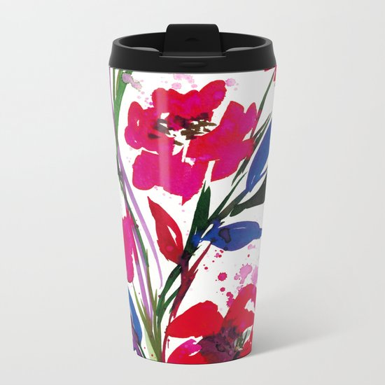 POCKETFUL OF POSIES 1, Colorful Summer Watercolor Floral Painting Abstract Red Blue Pink Flowers Art Metal Travel Mug
