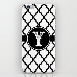 Black Monogram: Letter Y iPhone Skin