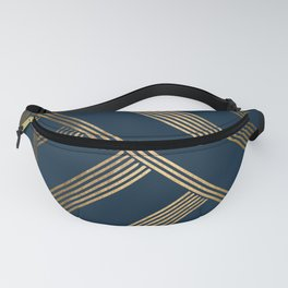 Art Deco Blurred Lines In Blue Fanny Pack