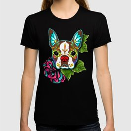Boston Terrier in Red - Day of the Dead Sugar Skull Dog T-shirt