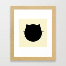 Black cat-Pastel yellow Framed Art Print