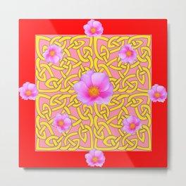 RED  PINK ROSES YELLOW PATTERN Metal Print